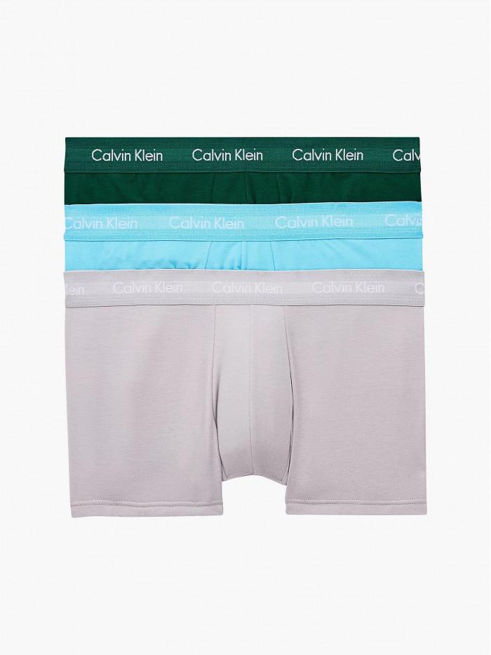Férfi boxeralsó Calvin Klein Cotton Stretch Low Rise Trunk zöld, kék, szürke 3-pack