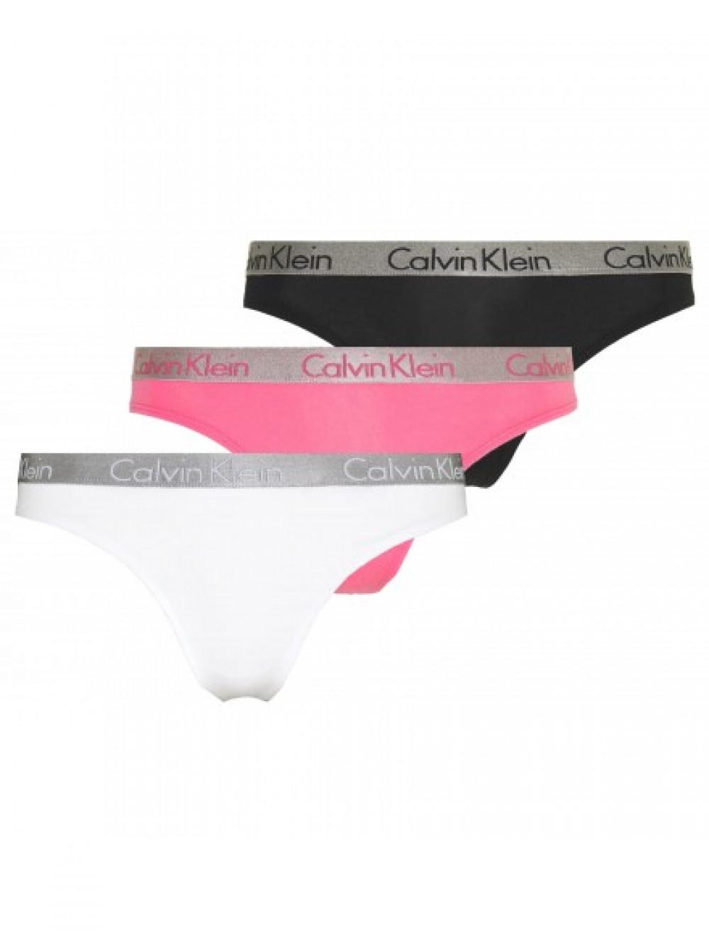 Női tanga alsóneműk Calvin Klein Radiant Cotton fekete, fehér, rózsaszín 3-pack
