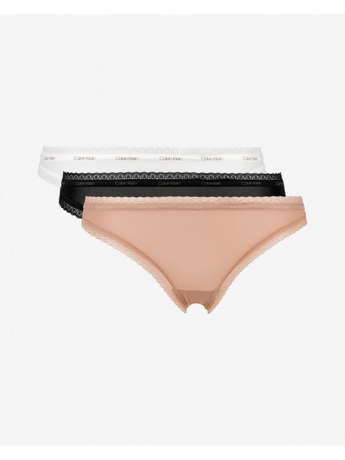 Női csipkés tanga alsónemű Calvin Klein fekete, fehér, bézs 3-pack