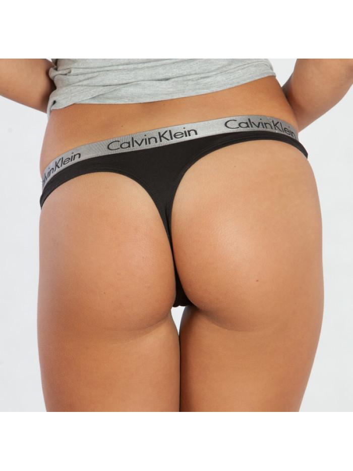 Női tanga alsónemű  Calvin Klein Radiant Cotton Thong fekete