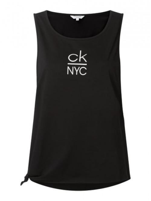 Női ujjatlan póló Calvin Klein Side Knotted Tank fekete