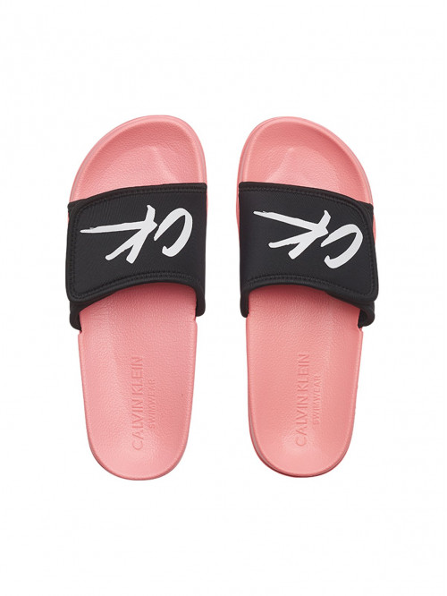 Női papucs Calvin Klein Velcro Slide rózsaszín-fekete