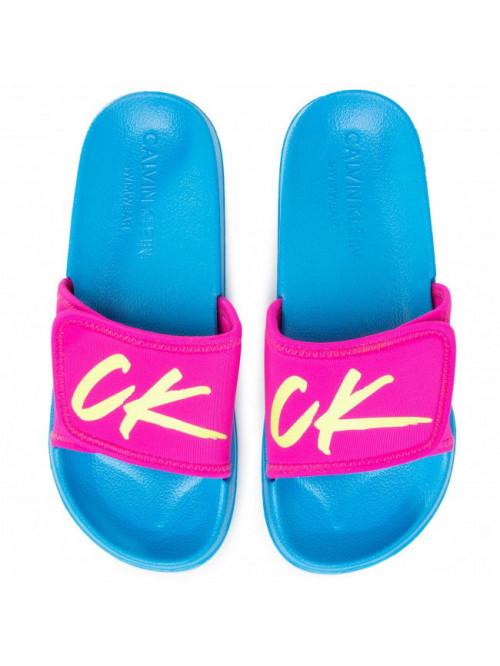 Női papucs Calvin Klein Velcro Slide rózsaszín-türkiz