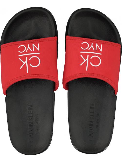 Női papucs Calvin Klein NYC Slide piros-fekete