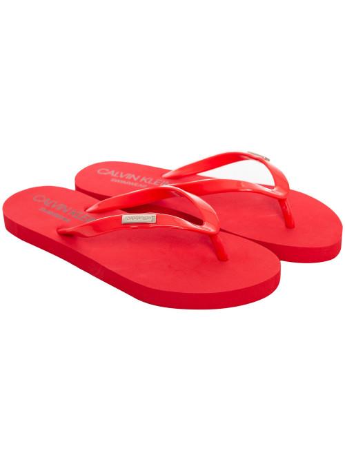 Női strandpapucs Calvin Klein Swimwear Metal Logo piros