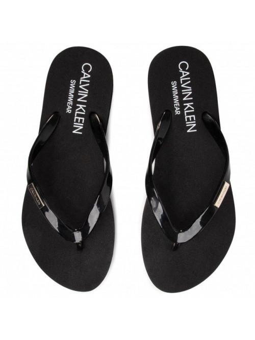Női strandpapucs Calvin Klein Swimwear Metal Logo fekete