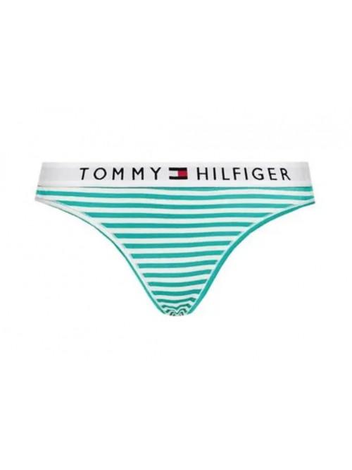 Női tanga alsónemű Tommy Hilfiger Stripe Stretch Organic Cotton zöld-fehér csíkos