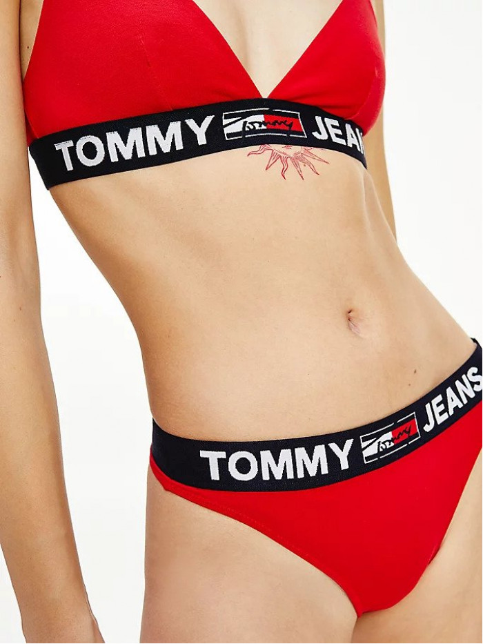 Női tanga alsónemű Tommy Hilfiger Contrast Waistband Logo Thong piros