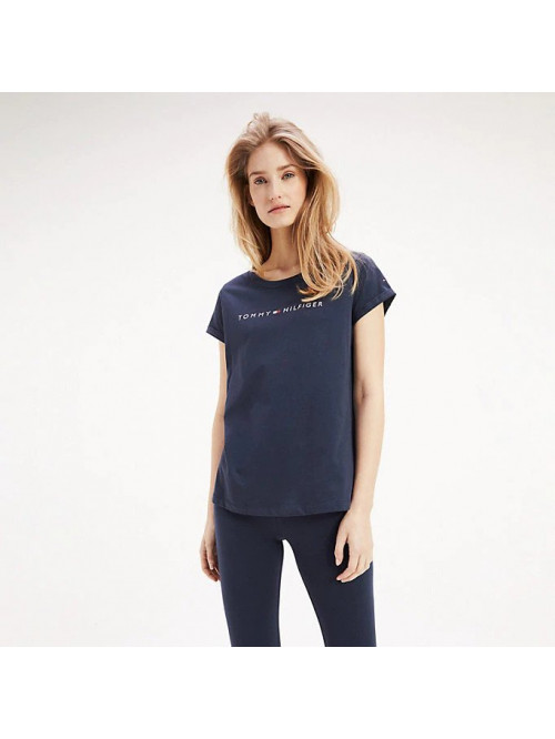 Női póló Tommy Hilfiger RN TEE SS LOGO kék