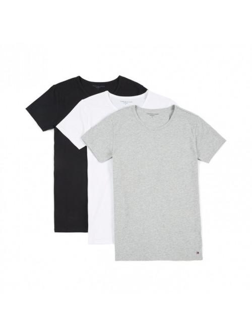 Férfi pólók Tommy Hilfiger C-Neck Tee SS szürke, fehér a fekete 3-pack