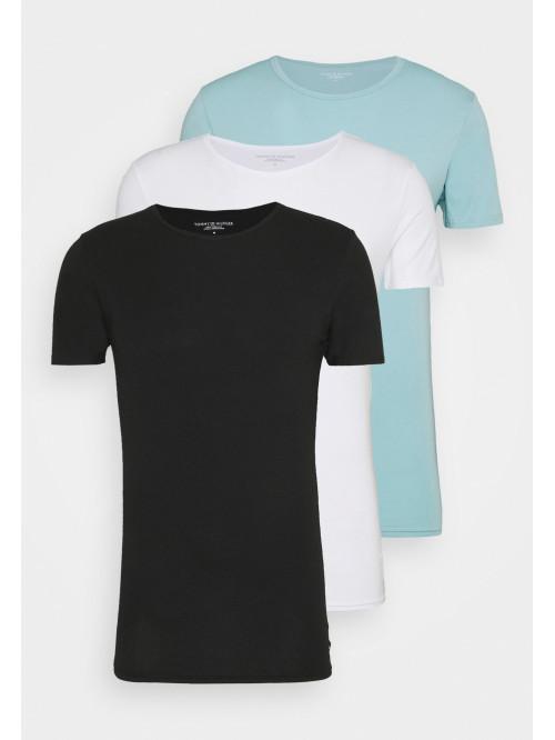 Férfi pólók Tommy Hilfiger C-Neck Tee SS fekete, fehér, világoskék 3-pack