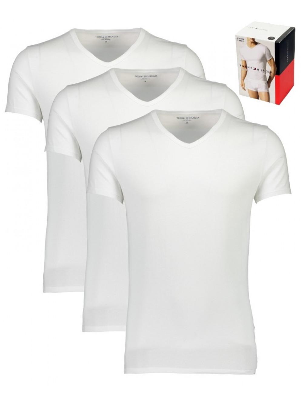 Férfi pólók Tommy Hilfiger V-Neck Tee SS fehér 3-pack
