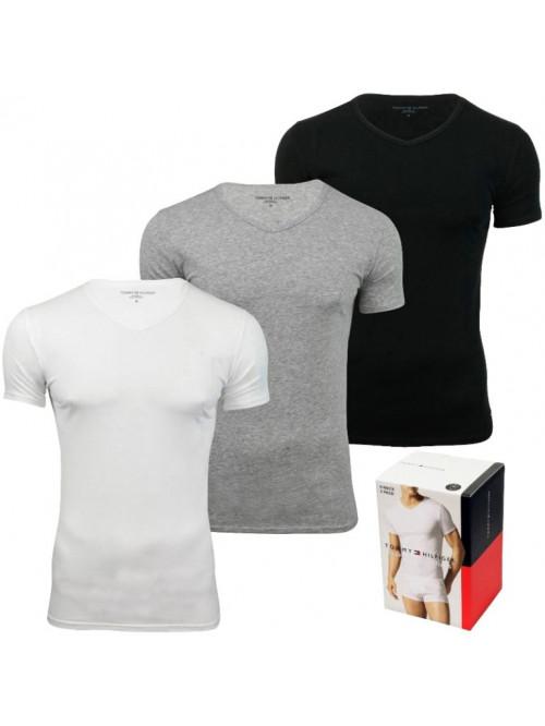 Férfi pólók Tommy Hilfiger V-Neck Tee SS szürke, fehér a fekete 3-pack