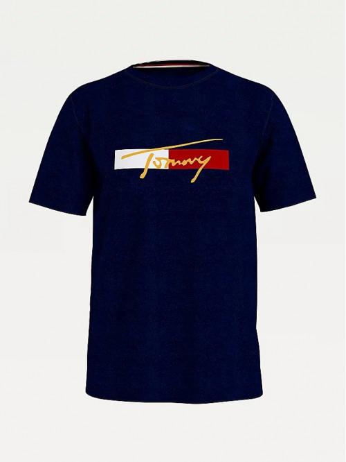 Férfi póló Tommy Hilfiger Organic Cotton Logo kék