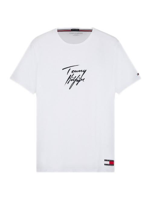 Férfi póló Tommy Hilfiger Signature Logo biele
