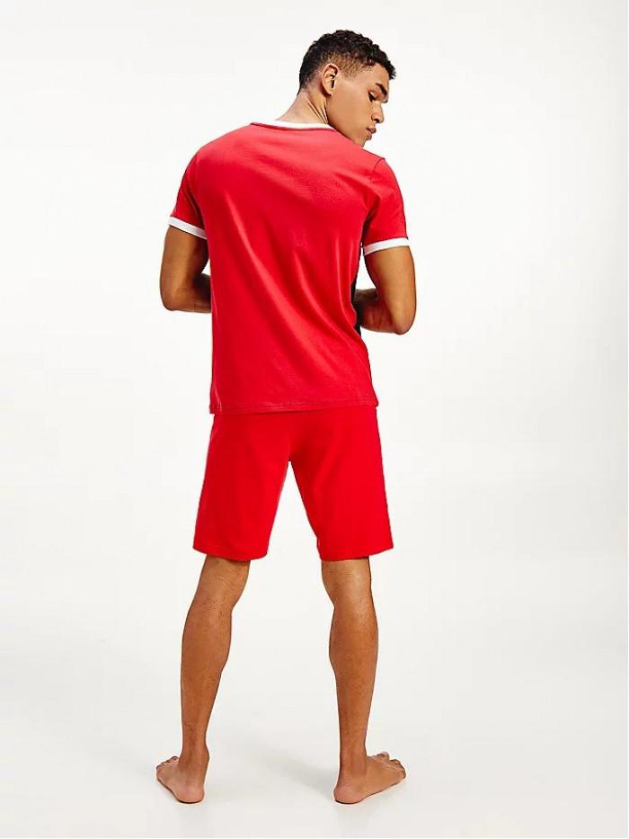 Férfi póló Tommy Hilfiger CN SS Tee Logo Flag piros