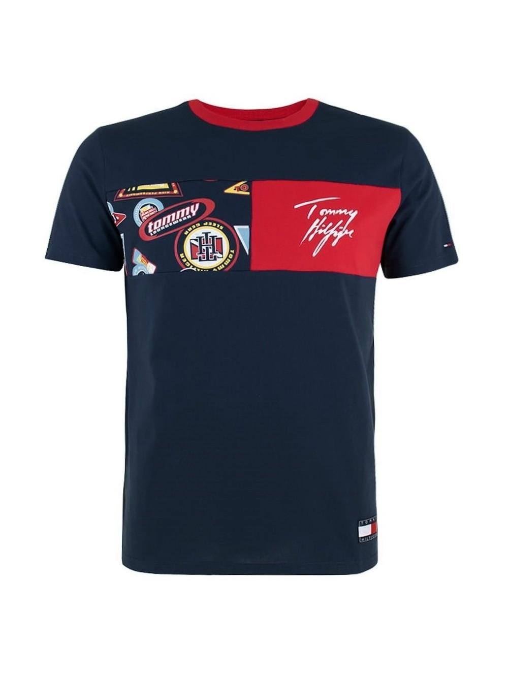 Férfi póló Tommy Hilfiger CN SS Tee Print kék