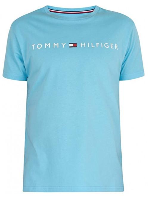 Férfi póló Tommy Hilfiger Crew Neck Tee Logo türkiz