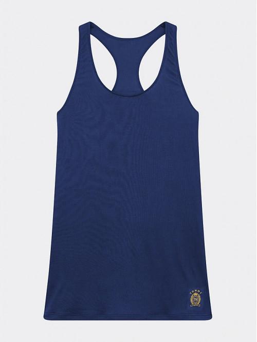 Női ujjatlan póló Tommy Hilfiger Cool Logo Racerback Vest navy kék