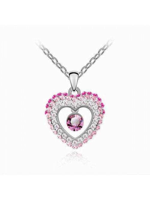 Rózsaszín nyaklánc Szív