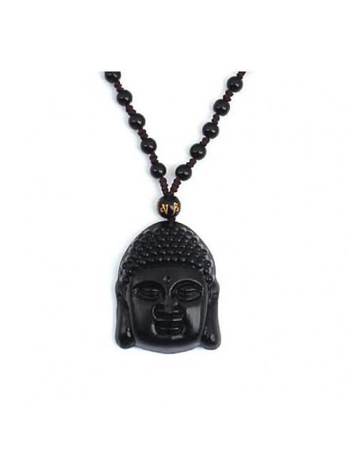 Nyaklánc Buddha Obsidian