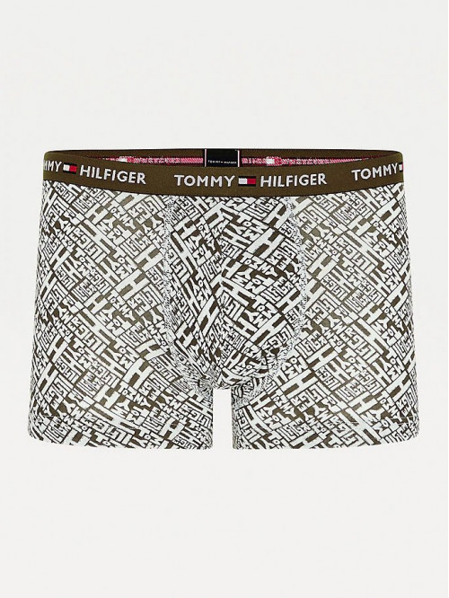Férfi boxeralsó Tommy Hilfiger All-Over Print Organic Cotton Trunks zöld