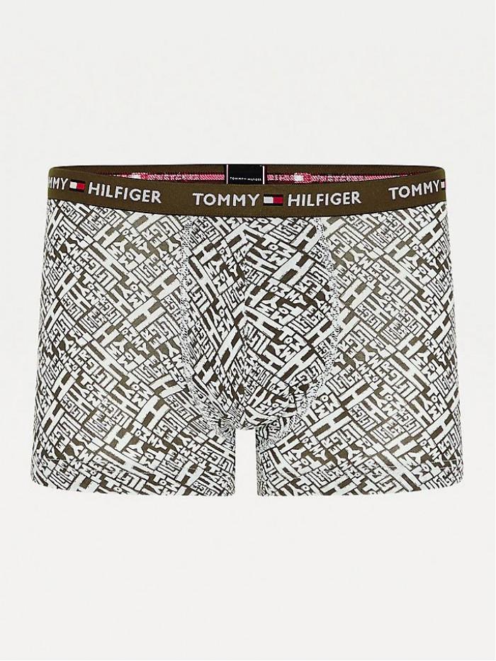 Férfi boxeralsó Tommy Hilfiger All-Over Print Organic Cotton Trunks zöld
